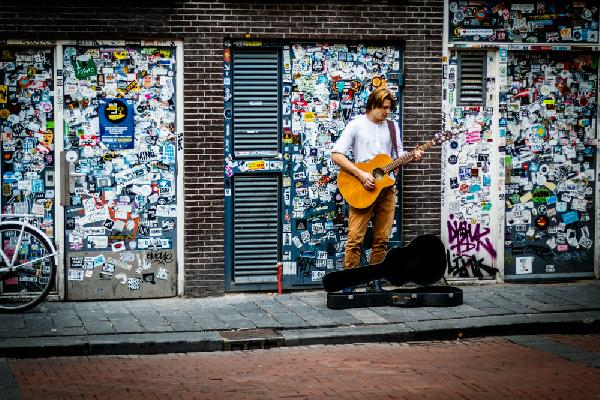 Streets of Amsterdam. Guitar guy.